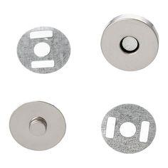 20 Sets Silver Tone Round Magnetic Purse Snap Clasps Closure Purse Handbag 14mm Fermoir