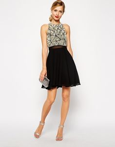 Image 4 of ASOS Embellished Crop Top Skater Dress