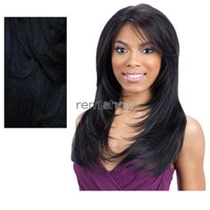 Equal (SNG) Green Cap Lace Front Gianna - Color BLUEBLACK - Synthetic (Curling Iron Safe) Regular Lace Front Wig