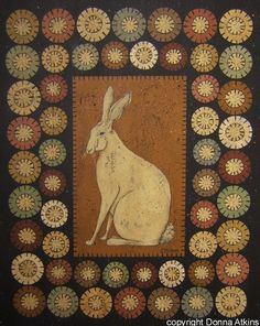 Felt crafts Primitive - Penny Rug Rabbit and Rooster, DIY Painting Craft EPattern by Donna Atkins Primitive Folk Art Penny Rug Patterns, Wool Applique Patterns, Hand Applique, Felt Applique, Felted Wool Crafts, Felt Crafts, Decoupage, Primitive Folk Art, Primitive Patterns