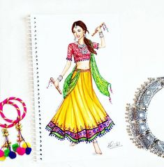 Navratri, is the most celebrated Hindu festival devoted to Goddess Durga symbolizing purity and power. It combines prayers and resplendent… Dress Design Drawing, Dress Design Sketches, Fashion Design Sketchbook, Dress Drawing, Fashion Design Drawings, Fashion Sketches, Indian Illustration, Dress Illustration, Fashion Illustration Dresses