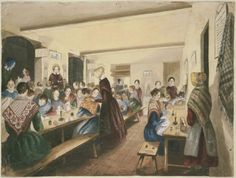 Girls' Evening School  about 1840   Unidentified artist, American, about 1840   Sheet: 34.3 x 45.9 cm (13 1/2 x 18 1/16 in.)   Graphite pencil and watercolor on paper   Classification: Watercolors  Museum of Fine Arts, Boston