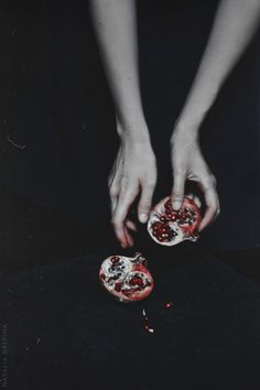 Persephone - queen of the underworld. She, who in the hell-halls of Hades feasts— Who ate from these, three pomegranate seeds, Maiden of Spring, became the Iron Queen.