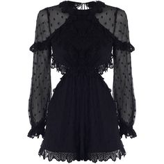 ZIMMERMANN Divinity Scallop Playsuit (2772950 PYG) ❤ liked on Polyvore featuring jumpsuits, rompers, playsuits, black, dresses, zimmermann, cutout romper, short sleeve romper, zip neckties and long-sleeve romper