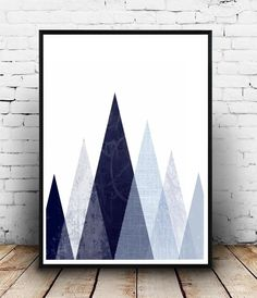 Blue Triangle Print Geometric Art Printable by honeytreeprints
