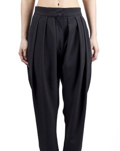Draped Trousers - Black $109.00  Draped pants in black, with high waist and long shot. Made from 100% polyester.