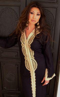 Black  Moroccan Caftan Dress (Long) - Lella  Style -Luxury  loungewear, beachwear, gift for moms and to be moms, maternity wear