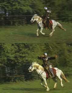 Late Roman horseman charging with a lance and then armed with a bow.