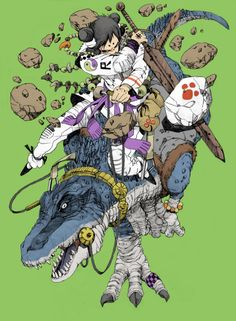 Katsuhiro Ōtomo-You can tell yourself you're cool, but you won't ever be as cool as a kid with a big-ass sword riding a dinosaur to battle! Art And Illustration, Character Illustration, Character Concept, Character Art, Concept Art, Comic Kunst, Comic Art, Manga Art, Anime Art