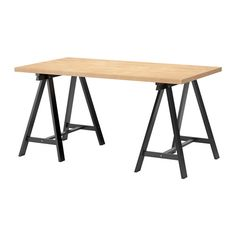 IKEA - GERTON / ODDVALD, Table, beech, black, Solid wood is a durable natural material. Should be treated with STOCKARYD wood treatment oil for indoor use once prior to usage. Trestle Legs, Trestle Table, Wood Table, Ikea Desk, Diy Desk, Bord Ikea, Ikea Office, Ikea Table, Lego Table