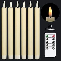 Amazon.com: GenSwin Flameless Ivory Taper Candles Flickering with 10-Key Remote, Battery Operated Led Warm 3D Wick Light Window Candles Real Wax Pack of 6, Christmas Home Wedding Decor(0.78 X 9.64 Inch) : Tools & Home Improvement