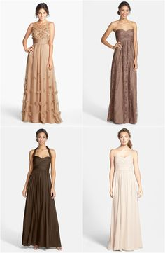 Mismatched brown bridesmaid dresses. This is a great look for fall! Click to see where to buy these dresses online.