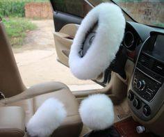 Fur Lit Fluffy Steering Wheel Covers Set