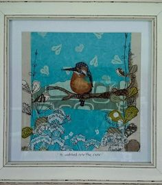 Kingfishermixed media collage/art mixed media by LilCritterDesigns