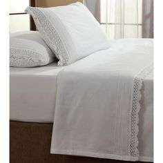 Give your bedding ensemble added dimension and visual appeal with this classic, yet sweet crochet  sheet set in a white finish. Constructed of 100-percent cotton, these sheets are machine washable for easy care and repeated use.