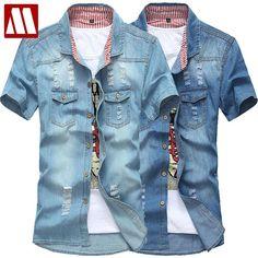 6e9f00252e Fashion New Short Sleeve Denim Shirt
