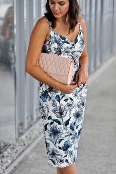 Asos floral print wiggle dress and vera bradley leather clutch via @mystylevita, my style vita