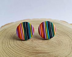 Colorful jewelry made of wood, polymer clay and resin by ColoreriaStudio Easy Polymer Clay, Fimo Clay, Polymer Clay Projects, Polymer Clay Jewelry, Diy Clay Earrings, Stud Earrings, Keramik Design, Clay Design, Clay Creations