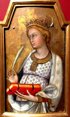 "KDS Photo, Frankfurt Stadel Museum, oil painting by Paolo di Giovanni Fei ""St Catherine of Alexandria"" , 1400"