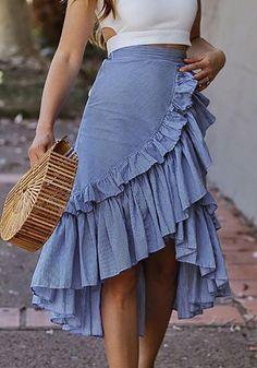 Available Sizes : S;L Length(cm) : Waist(cm) : Hip(cm) : Type : Slim Material : Cotton Blend Pattern : Plain Length Style : Below Knee Decoration : Draped, Irregular, Ruffle Color : Blue Midi Skirt Outfit, Winter Skirt Outfit, Casual Skirt Outfits, Casual Skirts, Classy Outfits, Work Outfits, Spring Outfits, Pencil Skirt Casual, Pencil Skirts