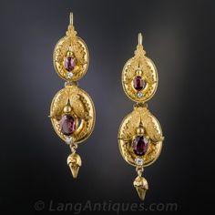 Victorian Garnet And Diamond Earrings