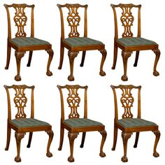 Charmant Set Of 6 Chippendale Style Mahogany Dining Chairs, Ca. 1890