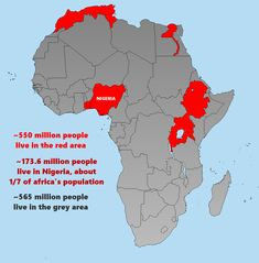 Half of Africa's population lives in the red part. More population divide maps >>