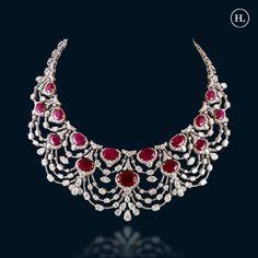 Ruby And Diamond Necklace, Diamond Jewellery, Wedding Jewellery Designs, Jewelry Design, Hazoorilal Jewellers, Jewelry Illustration, Julia, Necklace Designs, Bling