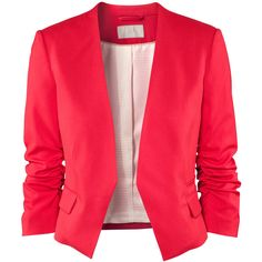 H&M Jacket £29.99 (175 BRL) ❤ liked on Polyvore featuring outerwear, jackets, blazers, tops, red, pocket jacket, red blazer, flap jacket, short blazer e h&m