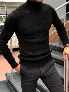 GentWith Marina Black Slim Fit Turtleneck Sweater - Gent With Mens Turtleneck, Black Turtleneck, Men Sweater, Outfit Hombre Formal, Stylish Mens Outfits, Winter Outfits Men, Mens Fashion Suits, Men Looks, Mens Clothing Styles