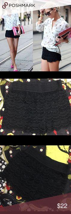Selling this Vanilla Bay black Lace Crocheted Shorts Size XL on Poshmark! My username is: sunshinegirl15. #shopmycloset #poshmark #fashion #shopping #style #forsale #Vanilla Bay #Pants
