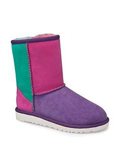 UGG® Australia Girls' Neon Multi Classic Patchwork Boots - Sizes 13, 1-6 Child 13-6