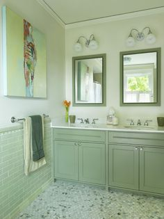 Alternatively, you can get the pale green look with feature tiling that has plenty of white grout which breaks up the monotone look. Description from homedit.com. I searched for this on bing.com/images