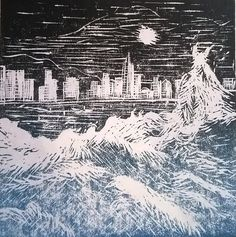 Hong Kong Linocut print for sale handmade in blue and black by Laura Young - MagnoliaLily