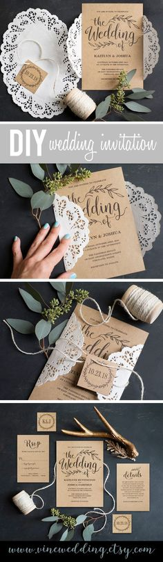 Rustic DIY Wedding Invitation. Printable Wedding Invitations. #wedding #invitation #rustic #diy #kraft #paper #invitations #budget #printable #vinewedding