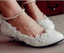 White lace crystal Wedding shoes Bridal flats low heel high heels pump size 6-10