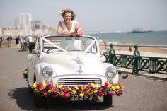 Brighton wedding with Molly the Morris Minor