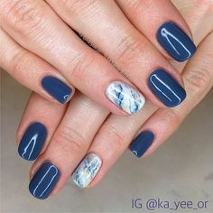 #marblenails are always popular. Couple of quick slabs for @kirseeley paired with @cndworld #shellac Denim Patch. #kayeegemsNmarble . #ritualtoronto #ritualgirlsdoitbetter #beautybyritual #torontonails #torontonailtech #gelpolish #gelpolishnails #gelpolishnails #stonenails