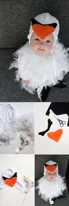 Adorable last minute homemade costume for your baby's first Halloween. Try this DIY Swan Halloween Costume