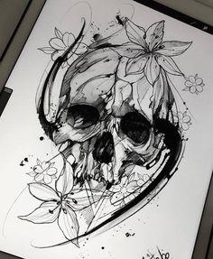 Эскиз татуировки с черепом и лилиями в графике
