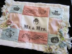 stamped and beaded silk mini quilt--a wedding memento