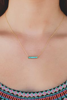Dainty Turquoise Bar Charm Necklace