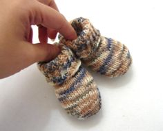 Camel and blue striped newborn socks thin wool baby by TinyOrchids, $20.00