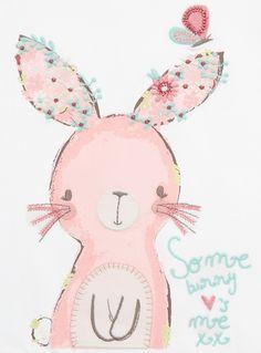 Girls Cream Bunny Print T-shirt (0-24 months)