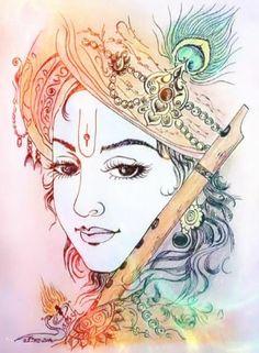 Top 50 Janmashtami Images, Stock Photos and vectors Krishna Drawing, Krishna Art, Lord Krishna Sketch, Krishna Tattoo, Krishna Radha, Hanuman, Lord Krishna Images, Radha Krishna Pictures, Indian Art Paintings