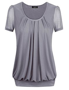 20327c7ee Laksmi Women's Short Sleeve Scoop Pleated Front Blouse Top at Amazon  Women's Clothing store: