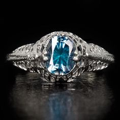 1900s-VINTAGE-0-80ct-FANCY-BLUE-DIAMOND-OVAL-COCKTAIL-RING-ANTIQUE-FILIGREE-14K