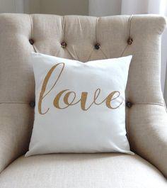 Glitter Gold Love Pillow Cover - Love Pillow - Gold Pillow - Glitter Pillow - Bridal Gift - Anniversary - Handmade - Love Pillow Cover