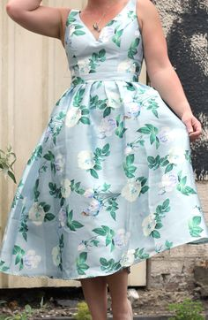 Blue Floral 50s Style Prom Dress
