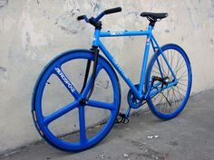 aerospoke fixie bike, the two blues are awesome but its the black that holds them together.